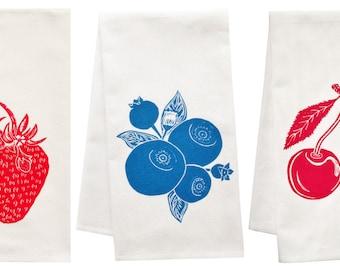 Berry Awesome organic tea towel set