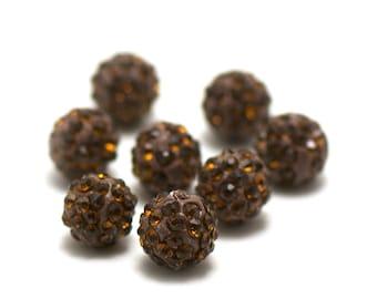 4 10 mm Brown rhinestone shamballa beads