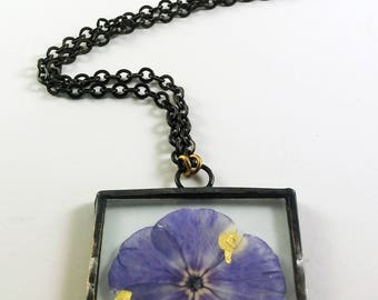 Purple Flower Window Pendant, Purple and Gold Glass Necklace