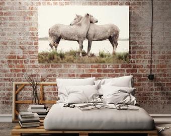 Horse Art, Large Canvas, Large Wall Art, Rustic Home Decor, Canvas Print, Horse Canvas Art, Neutral Bedroom Wall Decor, Nature