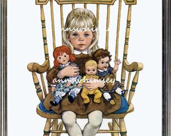 Nursery Art Print, Nursery Art, Girl's Room Art, Nursery Girls, Girl Rocks Babies  #779