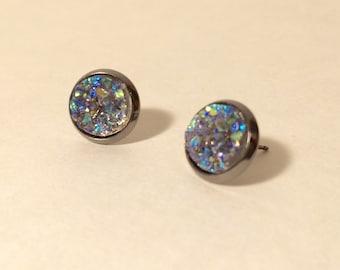 10mm druzy earrings in gunmetal stud settings