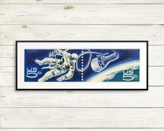 US astronaut posters, NASA astronaut wall art, NASA poster set, Apollo Mission spacewalk, Apollo Mission art prints, Gemini 4, Ed White
