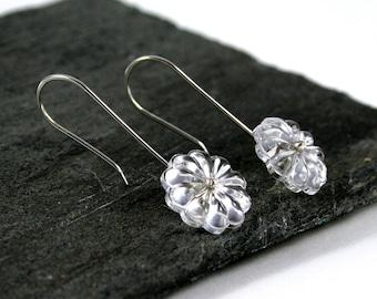 Vintage Chandelier Flower Crystal Sterling Silver Drop Earrings