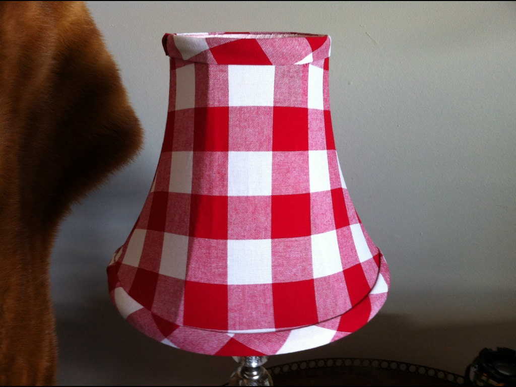 Small bell lampshade red buffalo check lampshade clip shade zoom arubaitofo Gallery