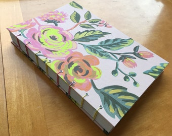 Neon Yellow and Light Pink Flower Sketchbook // Coptic Stitch Journal // Beautiful Handmade Floral Notebook // Gifts Under 20 // Pretty