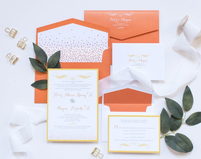 5x7 Orange and Yellow Confetti Wedding Invitation Includes Envelope Liner with RSVP