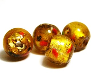 5x Round Silver Foil Glass Beads 12mm - Speckled Gold