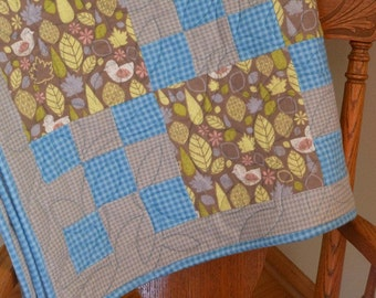 Patchwork Baby Blanket, Patchwork Baby Quilt, Soft Baby Blanket, Gender Neutral Baby Blanket, Flannel Lap or Baby Quilted Blanket