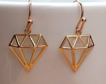 Diamond silhouette gold filigree minimalist earrings
