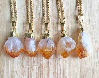 Citrine Pendant Citrine Necklace Crystal Pendant Raw Citrine Jewellery Womens Pendant Womens Jewellery Girlfriend Gift Handmade For Her