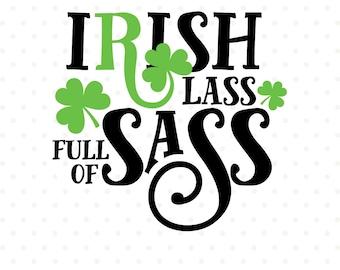 Shamrock SVG file, Irish Lass file, St Patricks Day svg, St Patricks Shirt svg, Commercial use file, Cuttable SVG file, Iron on file