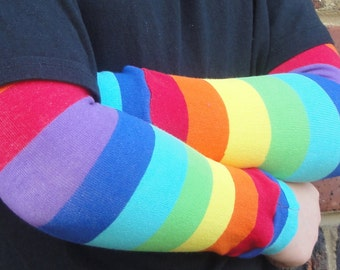 Leg Warmers in RAINBOW Stripes - Arm Warmers/Leggings for Infant, Toddler, Kid and Tween - Great Birthday or Shower Gift for Boy or Girl