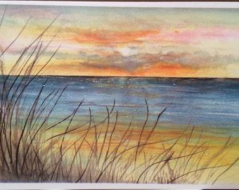 Sunset Ocean scene  beach watercolor print card ( Item -LS26)