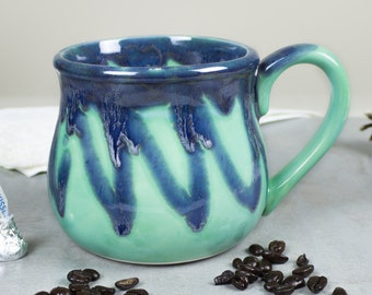 Large 20 oz. Coffee Mug, Tea Cup, Hot Cocoa Big Old Cup, Mint green and blue, Hostess Gift READY TO SHIP