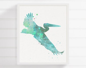 Watercolor Pelican - Pelican Art - Pelican Print - Pelican Bird - Bird Print - Bird Art, Watercolor Bird, Nursery Art Print, Bird Wall Decor
