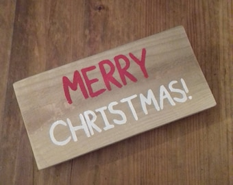 Wooden MERRY CHRISTMAS! Sign - Handmade Rustic Home Decor