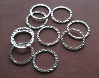 BULK (50) Hammered Metal Rings Silver 20mm Wholesale Jewelry Supplies Supply Hoops Circles Plated Metal Links Findings CrazyCoolStuff