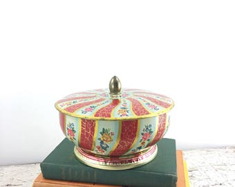 Vintage Colorful Lidded Tin