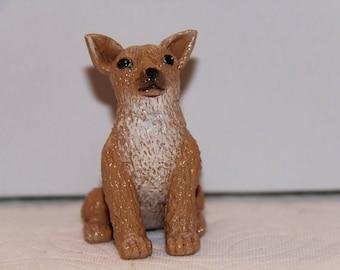 Chihuahua, Sitting, Ornament/Figure 100% Handmade