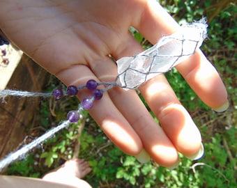 Handmade Unique Macrame Clear Quartz and Amethyst Necklace