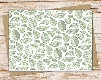 green leaves note card set . leaf notecards .  nature, outdoors . blank cards . folded stationery . stationary . set of 6