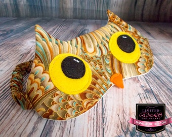 Owl Eye Mask in Robert Kaufman  Feathers Fabric with Matching Covered Elastic Strap and felt applique. Sleep Mask