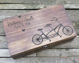 Wedding gift for bike lovers, advice card box, wedding wine box, double wine box, memory box,  personalized wine box, wooden bike box, gift
