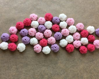 100 Edible fondant sugar Tiny Roses - Hot pink, baby pink, lilac and white mix - Cupcake / Cake Toppers - Wedding, birthday