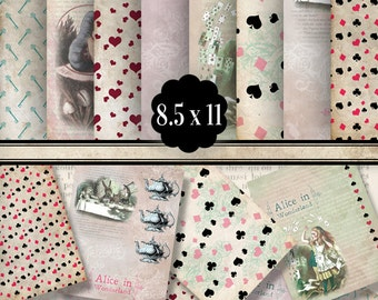 Alice in Wonderland Paper 8.5 x 11 inch paper pack printable hobby crafting scrapbooking instant download digital collage sheet - VDPAAL1335