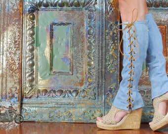 Knee High Lace Up Boots Denim