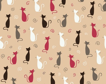 Cat Backdrop - witch wallpaper,floral - Printed Fabric Photography Background G0967
