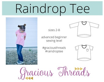 Raindrop Tee PDF sewing pattern 2T-8