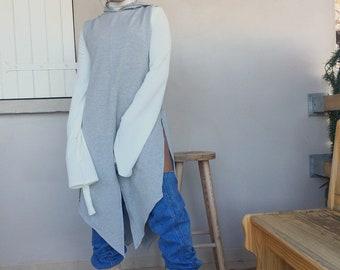 Grey sleeveless hoodie, pull over, grey sleeveless hoodie, grey sweatshirt, muscle shirt, muscle tee, sleeveless poncho hoodie, maxi dress