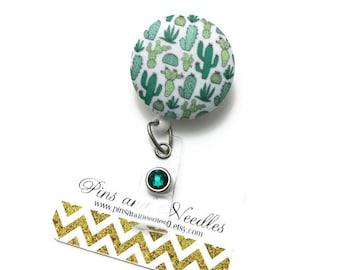 Cactus ID Badge Reel - Retractable Badge Reel - Cute Id Badge Reels - Fabric Badge Holder - Fabric ID Badge Reel -Green Cactus ID Badge Reel