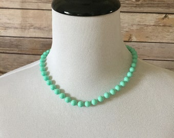 Mint Green Sea Foam Colored Lucite Beaded Necklace Round Plastic Beads Princess Length Necklace