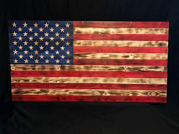 38x19 Wooden American Flag Customizable