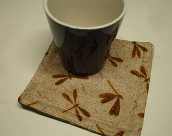 Dragonfly Fossils and Fern Reversible Cup Carpet Mug Rug