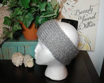 Gray soft knit headband