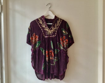 90s purple embroidered top S/M / vintage floral short sleeve butterfly shirt / dashiki boho bohemian hippie cotton blouse