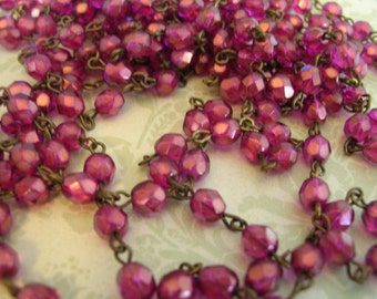 BC68 Handmade Linked Beaded Chain with Pomegranate Shimmer 6mm Faceted Czech Glass Beads