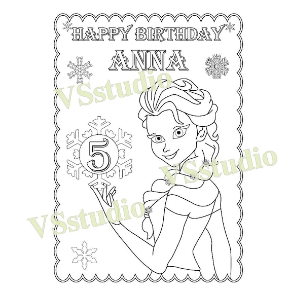 Frozen Birthday Party Favor Coloring Page PDF File