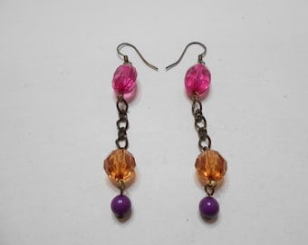Vintage Crystal Pierced Dangle Earrings (6542)