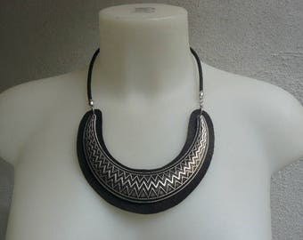 Silver ethnic half moon with insert leather bib necklace