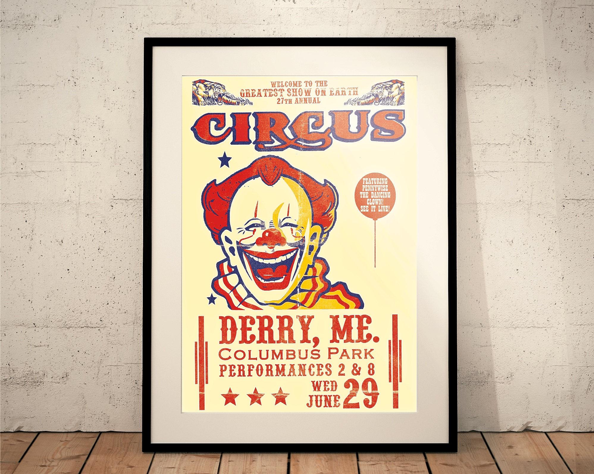 IT Movie Print Pennywise // Circus // Fairground // Fun Fair