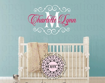 Personalized Nursery Wall Decal - Girl or Boy Baby or Teen Personalized Initial and Name Monogram Vinyl Wall Decal FN0612