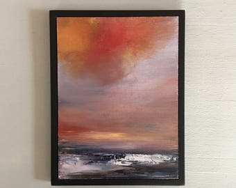 Beach Painting - Red Skies Beach Painting- Framed- Black Frame- Small Painting - Original Painting- 6 x 8  -Contemporary Small Painting