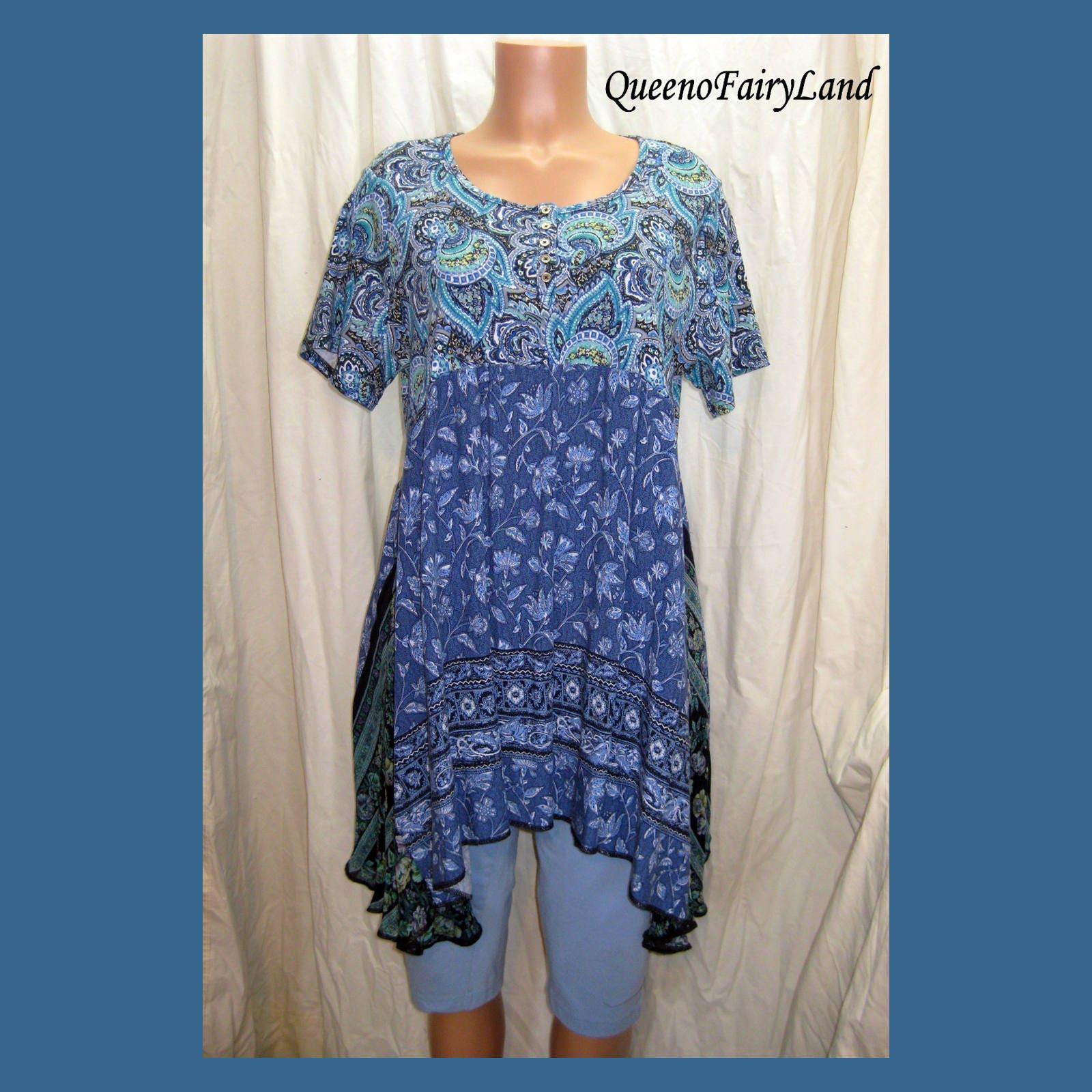 Bohemian Paisley Blues Tunic Dress Bust 42 Size XL 1X Re purposed