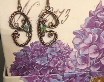 Oxidized Coppper Earrings with Swarovski Crystals