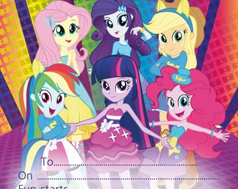 10 x Birthday Party Invitations or Thank you cards My Little Pony Equestria Girls